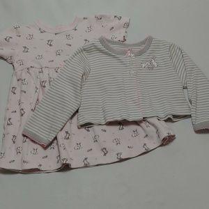 Little Me Dress and Cardigan 2pc Set Girls 9m